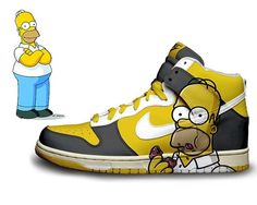 90142c687cf Nike Simpsons Dunks High Homer X Marge Comic Shoes