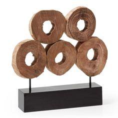 Statuette ovales décoratifs Amba Support avec ovales décoratifs de bois recyclé, en finition naturelle effet vieilli.