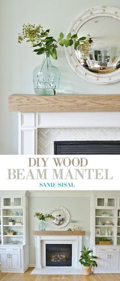diy wohnen Learn how to make this DIY Wood Beam Mantel and fireplace surround with marble herringbone tile. The mantel has a hollow center to hide electrical cords or your treasures! Fireplace Redo, Fireplace Hearth, Fireplace Remodel, Fireplace Surrounds, Fireplace Design, Electric Fireplace With Mantle, Fireplace Surround Diy, Brick Fireplaces, Shiplap Fireplace