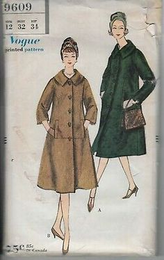 Vtg Vogue 9609 Pattern 1958 Coat Swing A-line Single-Breasted 12 Vogue Sewing Patterns, Mccalls Patterns, Coat Patterns, Wall Decor Crafts, Pant Shirt, Double Breasted Jacket, 50s Dresses, Vintage Vogue, Fabric Dolls