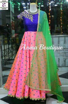 Click visit link above for more details Salwar Designs, Lehenga Designs, Blouse Designs, Long Gown Dress, Frock Dress, Long Frock, Mommy Daughter Dresses, Dresses Kids Girl, Long Dress Design