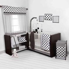 Bacati Dots/Pin Stripes 10-Piece Nursery in a Bag Crib Bedding Set - Bumper Free, Black/White