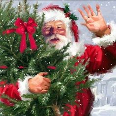 Santa Claus by Richard MacNeil Christmas Scenes, Noel Christmas, Very Merry Christmas, Father Christmas, Vintage Christmas Cards, Little Christmas, Christmas Pictures, Christmas Crafts, Christmas Wreaths