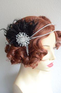 MADE TO ORDER,Black feather headpiece,Art Deco Flapper,1920s Flapper headpiece,Gatsby headband,Downton Abby flapper,Rhinestones,Style D011 on Etsy, $115.00