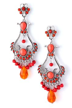 Antique Style Coral Earrings