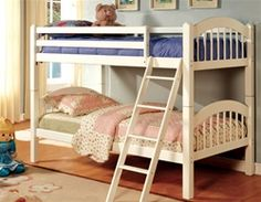 Furniture & Design :: Bedroom furniture :: Bedroom Sets :: Bunk Bed Sets :: Coney Island III White Wood Finish Twin over Twin Bunk Bed with Front Access Angled Ladder Bunk Bed Sets, White Bunk Beds, Wood Bunk Beds, Twin Bunk Beds, Kids Bunk Beds, Twin Twin, Empire Furniture, Discount Furniture Stores, Bunk Bed Designs