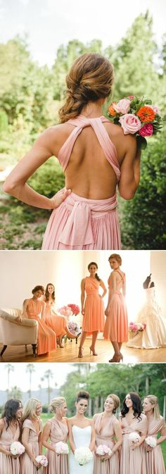 28 Super Stylish Convertible (Twist-Wrap) Bridesmaid Dresses Your Girls Will Love! 20 Chic and Stylish Convertible (Twist-Wrap) Bridesmaid Dresses - Pink and blush dresses Pink Bridesmaid Dresses, Blush Dresses, Prom Dresses, Wedding Dresses, Bridesmaids And Groomsmen, Wedding Bridesmaids, Vestidos Color Rosa, Convertible Dress, Wedding Attire