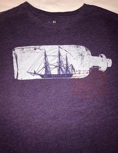 Men 039 s Banana Republic XL Graphic Tee SHIP in A Bottle Short Sleeve Purple | eBay