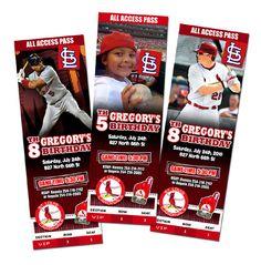 St Louis Cardinals Birthday Party Invitation Baseball Any Player Ticket 1st | eBay
