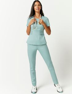 Pintuck Top in Jade - Medical Scrubs by Jaanuu scrubs Scrubs Outfit, Scrubs Uniform, Stylish Scrubs, Fashionable Scrubs, Jaanuu Scrubs, Doctor Scrubs, Medical Uniforms, Womens Scrubs, Peeling