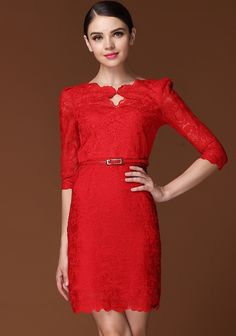 Red Half Sleeve Scallop Lace Dress