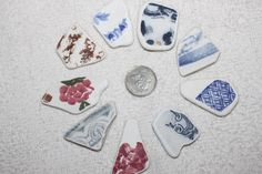 AWESOME BEACHGLASS POTTERY Shards Arts and Craft And Jewelry size pieces zy123 by BEACHGLASSSWEPTASHOR on Etsy