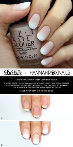 Blanc Ombre bricolage Nail Art Tutorial de Lulu. Jolie 2 étape rose pâle à ongles blancs pour le printemps et l'été.