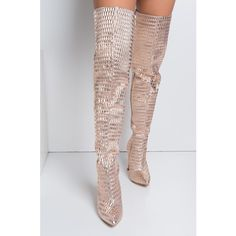 Cape Robbin My Best Friend Quilted Thigh High Boots ($70) ❤ liked on Polyvore featuring shoes, boots, over-the-knee boots, metallic thigh high boots, stretch boots, thigh boots, pointed toe thigh high boots and thigh high stiletto boots
