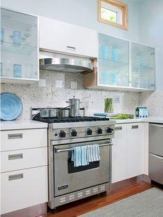 Contemporary Beach Kitchen- Starfish Backsplash!