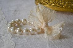 Lucy Bracelet: Lace & Pearls, Ivory Pearl Bracelet with Cream / Creme Lace Bow - Bridesmaids and Flower Girls