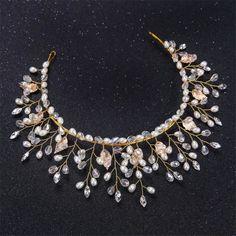 Wedding Bridal Handmade crystal Pearl Crown Hair Accessories Tiara Headpieces фото