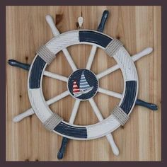 Manualidades Nautical Decor Mediterranean Style Decoration Bar Wall Hanging Marine/ Ship Rudder Large Wooden Helm Mural 45cm