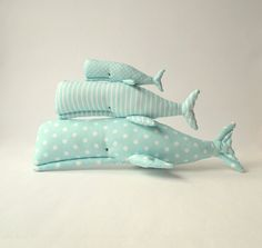 Stuffed  Whales Whales toys x3. Plush cute by CherryGardenDolls