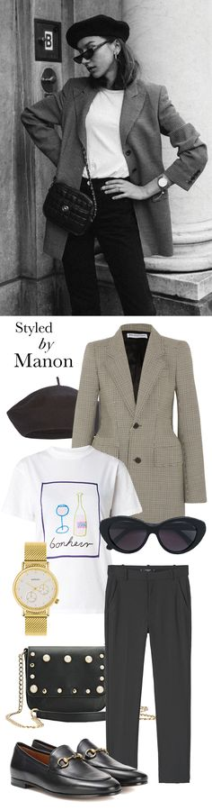 Black beret, white shirt & black loafers, sunglasses, checkered blazer and black pants - Styled By Manon