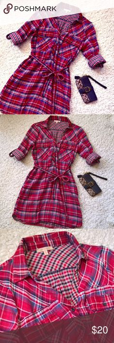 Skies Are Blue Plaid Shirtdress/Tunic Only Worn Once! Skies Are Blue Plaid Shirtdress/Tunic.  Tab sleeves. Fully lined with contrasting plaid. Size Medium.  *Loose threads throughout. Belt loops are coming unstitched. Belts has open seam.  All pictured. All easily fixed. Skies Are Blue Tops Tunics