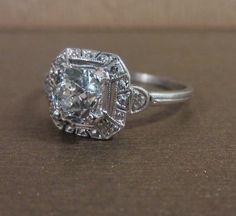 Elegant Edwardian engagement ring with Old Mine cut diamond, from Doyle & Doyle.