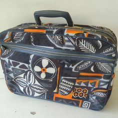 mid century abstract small suitcase  orange black by JennyandPearl, $45.00