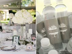 Love these water bottles. Grey, white, labels, design, events, wedding