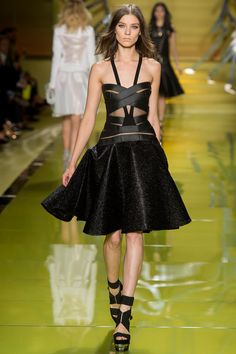 Versace Spring 2014 Fashion Show Versace Bandage Cutout Flare Dress