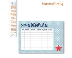 Printable Stundenplan Sternchen First Day Of School, Back To School, Birthday Calendar, Free Prints, Elementary Education, Filofax, Kids Crafts, Lesson Plans, Planer