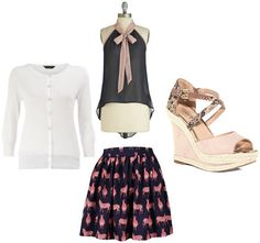Back to School outfit 2: Sorority rush (printed skirt, bow blouse, white cardigan, wedges)