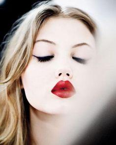 dark red heart-shaped lips