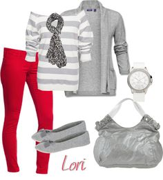 Outfit idea for my red pants Red Pants Outfit, Blue Pants, Fall Winter Outfits, Winter Fashion, Cute Fashion, Fashion Outfits, Casual Outfits, Cute Outfits, Red Jeans