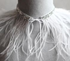 Items similar to Wedding choker necklace / feather and rhinestone choker necklace/ bridal crystal choker/diamond choker/white feather collar/evening necklace on Etsy Rhinestone Choker, Crystal Choker, Crystal Bracelets, Feather Jewelry, Feather Necklaces, Bridal Necklace, Wedding Jewelry, White Feathers, Ostrich Feathers