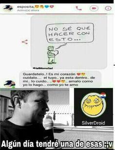 awww que linda parejita Love Messages, Text Messages, Pinterest Memes, You Stupid, Funny Times, Spanish Memes, Himym, Bts Memes