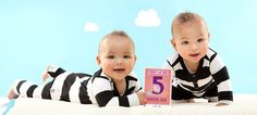 Today we are 5 months old. Milestone™ Baby Cards Twins. This set contains 48 photo cards with all the big events of their very first year. Simply fill in the date and take a picture of your babies together with the cards. Your baby pictures will be truly unforgettable.