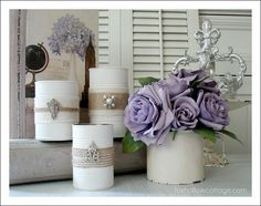 Mix in with jars? I like the burlap and the vintage bling