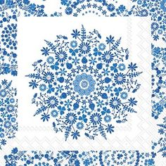 Lilly white blue Cocktail Napkins 240 ct