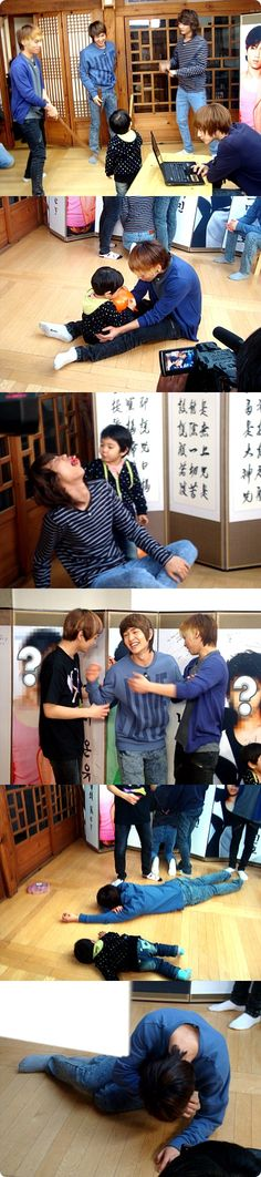 """""""SHINee's Hello Baby"""".  Yoogeun lying next to """"Appa"""" Onew is just precious."""