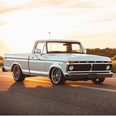 The Most Amazing Old Trucks - White Classic Ford Truck. Squarebody Ford Truck in the sunset. Tips and ideas for classic trucks owners. Chevy Diesel Trucks, Lifted Chevy Trucks, Ford Pickup Trucks, 4x4 Trucks, Chevrolet Trucks, Chevrolet Silverado, 1957 Chevrolet, Chevrolet Impala, Custom Ford Trucks