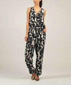 Another great find on #zulily! Black & White Abstract Surplice Jumpsuit - Women & Plus #zulilyfinds