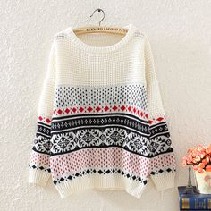Woman'S Rhombus And Stripes Pattern Knitwear