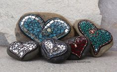 New Rock Mosaic Hearts for Etsy by Chris Emmert, via Flickr-LOVE the red beauty hiding behind the front center rock!!