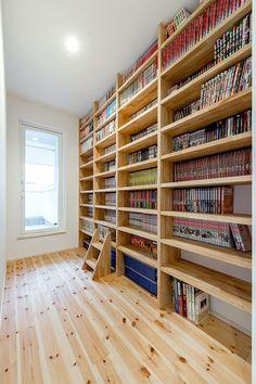 大容量の本棚のある可愛いお家