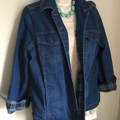 Denim & Co. Jean Jacket with blue plaid lining   Never even worn, was too loose on me. Is true to size medium. So cute with the plaid!!! I hope I find another one!! NEW NEVER WORN Denim & Co Jackets & Coats Jean Jackets