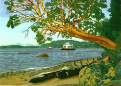 Limited Edition Prints by E. Hughes Framed and Unframed « E. Canadian Painters, Canadian Artists, Paintings I Love, Small Paintings, Arbutus Tree, Limited Edition Prints, Folk Art, Art Prints, Landscape