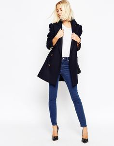 Image 4 ofASOS Peacoat With Double Breast In Wool Mix