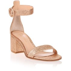 Gianvito Rossi Versilia 60 Rose Gold Glitter Sandal ($265) ❤ liked on Polyvore featuring shoes, sandals, gold, block heel sandals, glitter shoes, mid-heel sandals, ankle strap shoes and ankle strap mid heel sandals