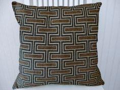 Grey Brown Chenille Pillow Cover  Decorative Pillow, Geometric Throw Pillow- Accent Pillow Cover.