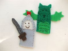 Knight and Dragon Finger Puppets. $12.00, via Etsy.